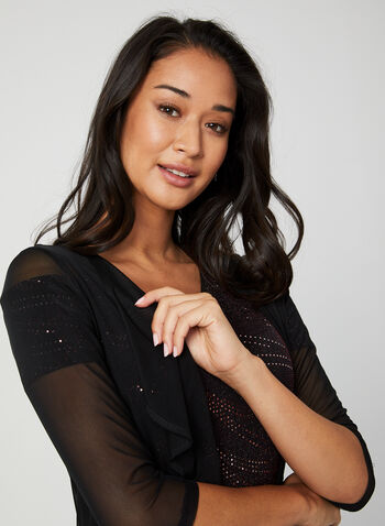 3/4 Sleeve Mesh Bolero, Black, hi-res,  bolero, mesh, 3/4 sleeves, open front, fall 2019