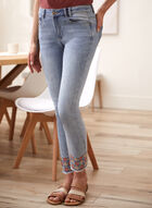 Charlie B - Embroidered Hem Jeans, Blue