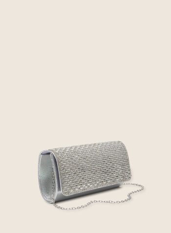 Crystal Flap Envelope Clutch, Silver,  bag, evening, clutch, metallic, chain, envelope, crystal, spring summer 2020