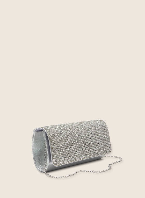 Crystal Flap Envelope Clutch, Silver