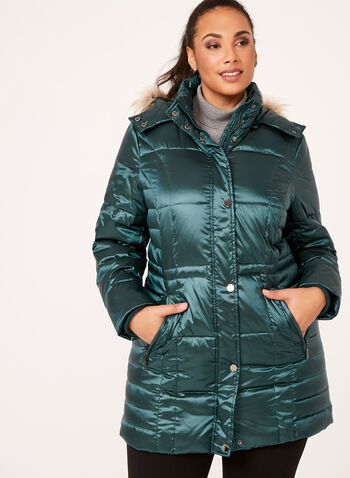 Hooded Faux Fur Down Coat, , hi-res