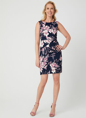 Floral Print Dress, Blue,  sleeveless, spring 2019, layered