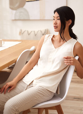 Charlie B - Sleeveless Top, Off White,  spring summer 2021, tops, tank top, blouse, v neck, no sleeves, pleats,