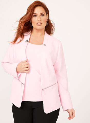 Zipper Trim Textured Blazer, Pink, hi-res