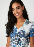 Burnout Jungle Floral Print T-Shirt, Blue, hi-res