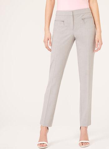 Pantalon coupe moderne à jambe droite, Gris, hi-res