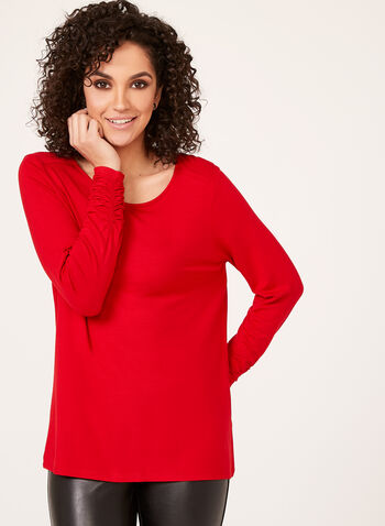 Ruched Cuff Long Sleeve Top, Red, hi-res