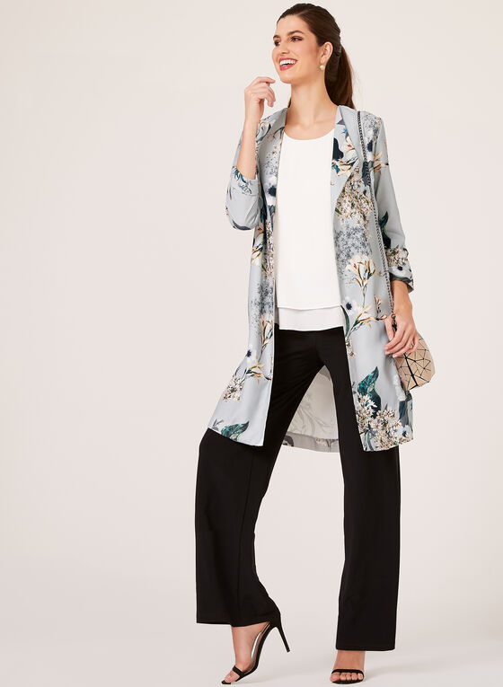 Carré Noir - Floral Print Duster Jacket, Grey, hi-res