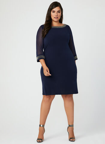 Illusion Sleeve Studded Trim Dress, Blue, hi-res