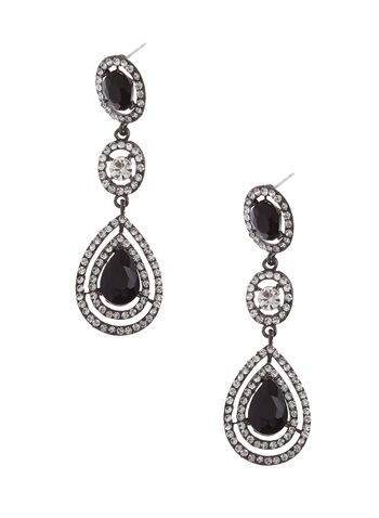 Pendants d'oreilles chandelier goutte et cristaux, Noir, hi-res