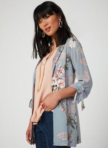 Floral Print Duster, Grey, hi-res,  Canada, duster, floral print, long sleeves, crepe, open front, fall 2019, winter 2019