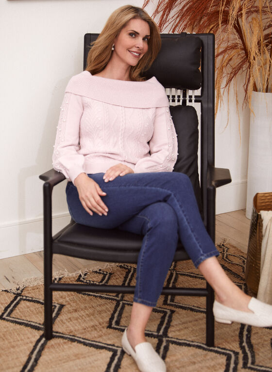 Pearl Detail Cable Knit Sweater, Pink