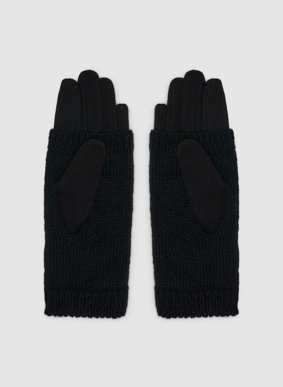 Pearl Detailed Knit Gloves, Black, hi-res