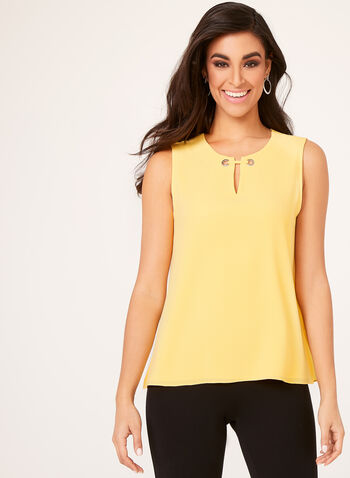 Sleeveless Eyelet Detail Blouse, Yellow, hi-res