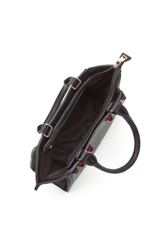 Studded Faux Leather Satchel, Black, hi-res