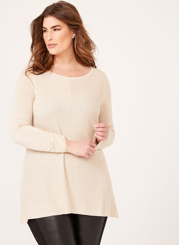 Asymmetric Hem Tunic Sweater, Off White, hi-res