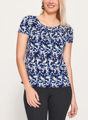 Cap Sleeve Scoop Neck Top, Blue, hi-res