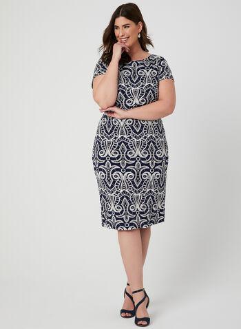 Textured Print Jersey Dress, Blue, hi-res,  day dress, textured, print, short sleeves, jersey, spring 2019