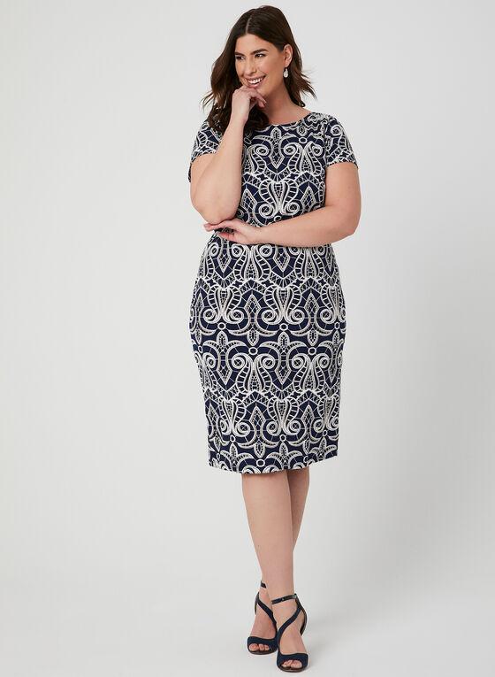 Textured Print Jersey Dress, Blue