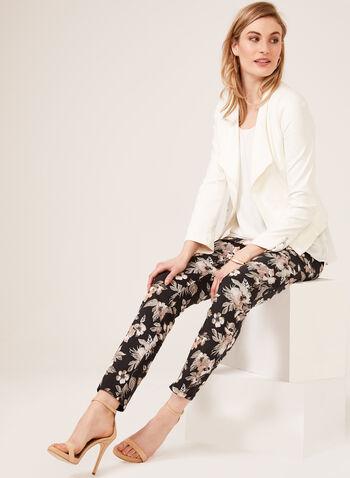 Floral Print ⅞ Slim Leg Pants, Black, hi-res