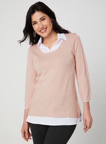 Pearl Detail Fooler Sweater, Pink,  knit, layered, pearls, ¾ sleeves, 3/4 sleeves, fall 2019, winter 2019