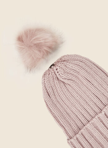 Removable Pom Pom Ribbed Hat, Pink,  fall winter 2020, tuque, hat, knitting, accessory, faux fur, removable