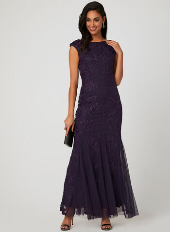 Long Embroidered Dress, Purple, hi-res
