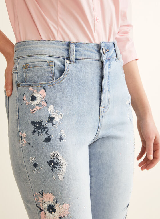 Floral & Rhinestone Detail Jeans, Blue