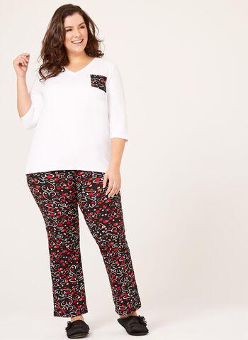 IB Diffusion – Heart Print Pajama Set, Black, hi-res