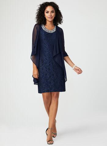 Two Piece Glitter Lace Dress, Blue, hi-res