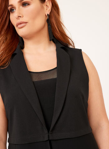 Picadilly - Sleeveless Chiffon Vest, Black, hi-res