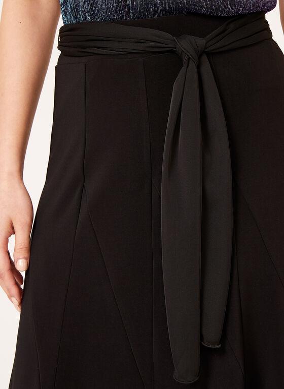 Jupe trapèze midi avec ruban à la taille, Noir, hi-res