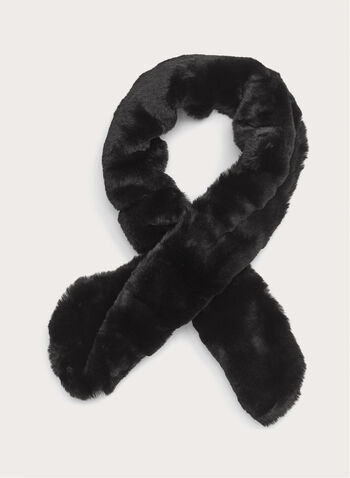 Faux Fur Neck Wrap, Black, hi-res