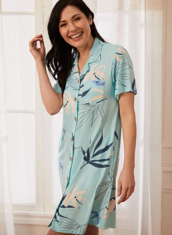 Tropical Print Nightgown, Blue