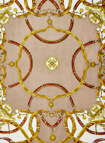 Printed Silk Scarf, Brown, hi-res