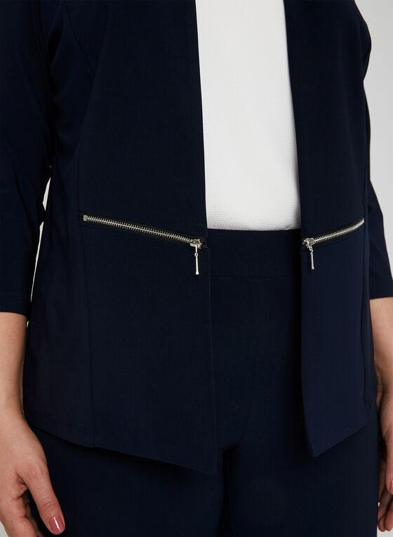 Haut ouvert à détails zippés, Bleu, hi-res