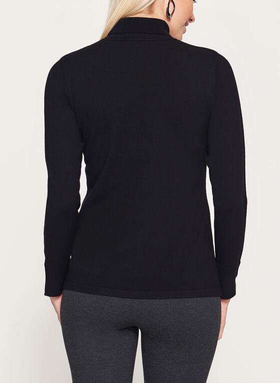 Pull tricot à col roulé avec manches détails métal, Noir, hi-res