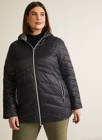 Lightweight Ethical Down Coat, Black,  coat, down, quilted, lightweight, hood, gingham, spring summer 2020