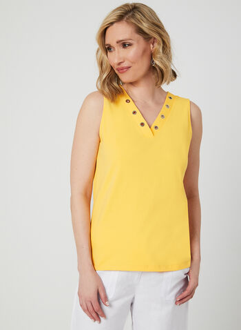 Grommet Neckline Camisole, Yellow, hi-res,