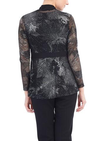 Crochet Knit Cover-Up Top, Black, hi-res