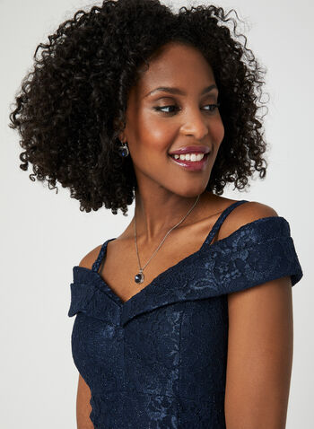 Glitter Lace Mermaid Dress, Blue, hi-res,  spring 2019, off the shoulder