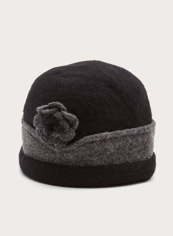 Two-Tone Wool Hat, Black, hi-res