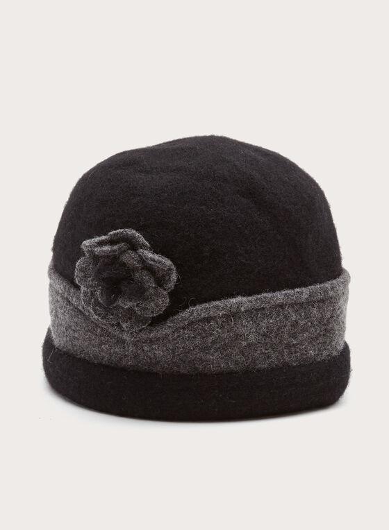 Tuque tricot en laine à fleur contrastante, Noir, hi-res