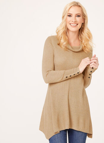 Cowl Neck Mitered Tunic Sweater, Brown, hi-res