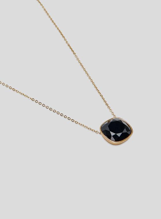 Collier court à pendant pierre, Noir, hi-res