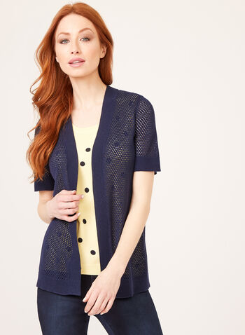 Short Sleeve Pointelle Cardigan, Blue, hi-res