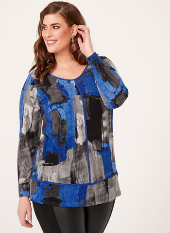 Abstract Print Knit Tunic, Blue, hi-res