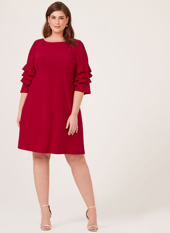 Ruffled Bell Sleeve Crepe Dress, Red, hi-res