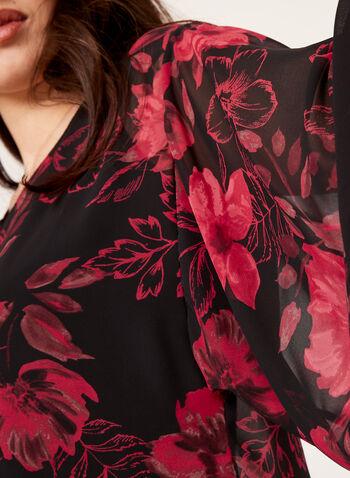 Blouse poncho fleurie façon kimono, Noir, hi-res