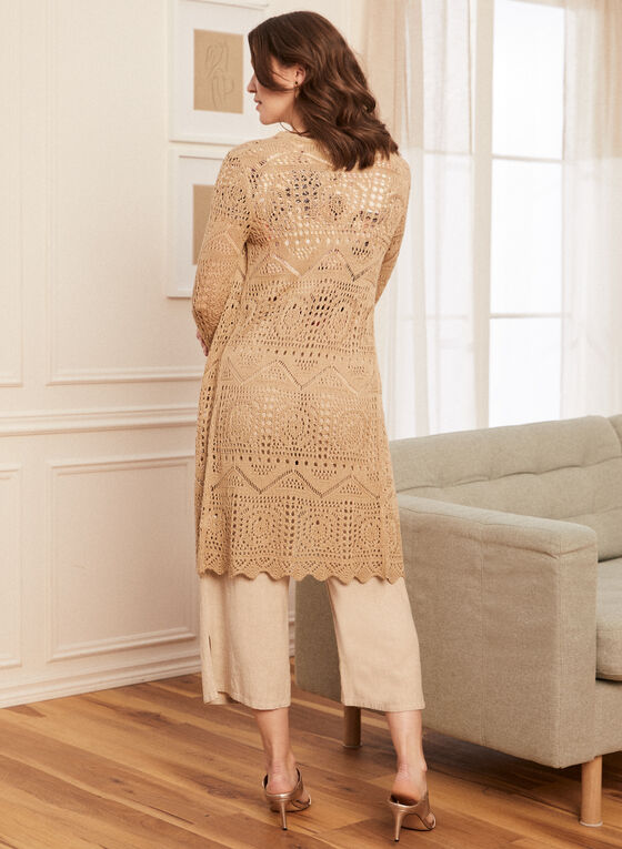 Long Open Front Crochet Cardigan, Off White